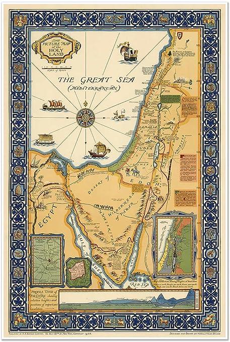 Mapa de Tierra Santa que muestra fronteras históricas, carreteras, ferrocarriles y lugares mencionados en el Nuevo Testamento, alrededor de 1923; mide 610 mm de ancho x 915 mm de alto: Amazon.es: Hogar