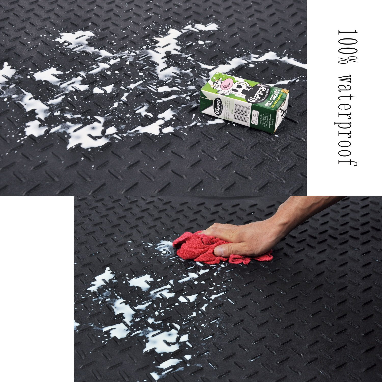 Heavy Duty Rubber Trunk Cargo Liner Floor Mat All Weather Trunk Protection Trimmable to Fit&Durable pvc Rubber Black