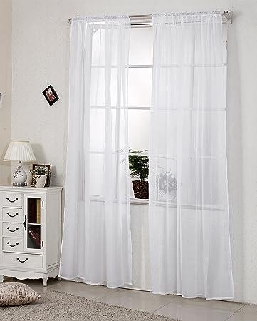 WOLTU VH5515ws, Gardinen Vorhang Transparent Mit Kräuselband Stores Für  Schiene Fensterschal Dekoschal Voile Wohnzimmer Landhaus