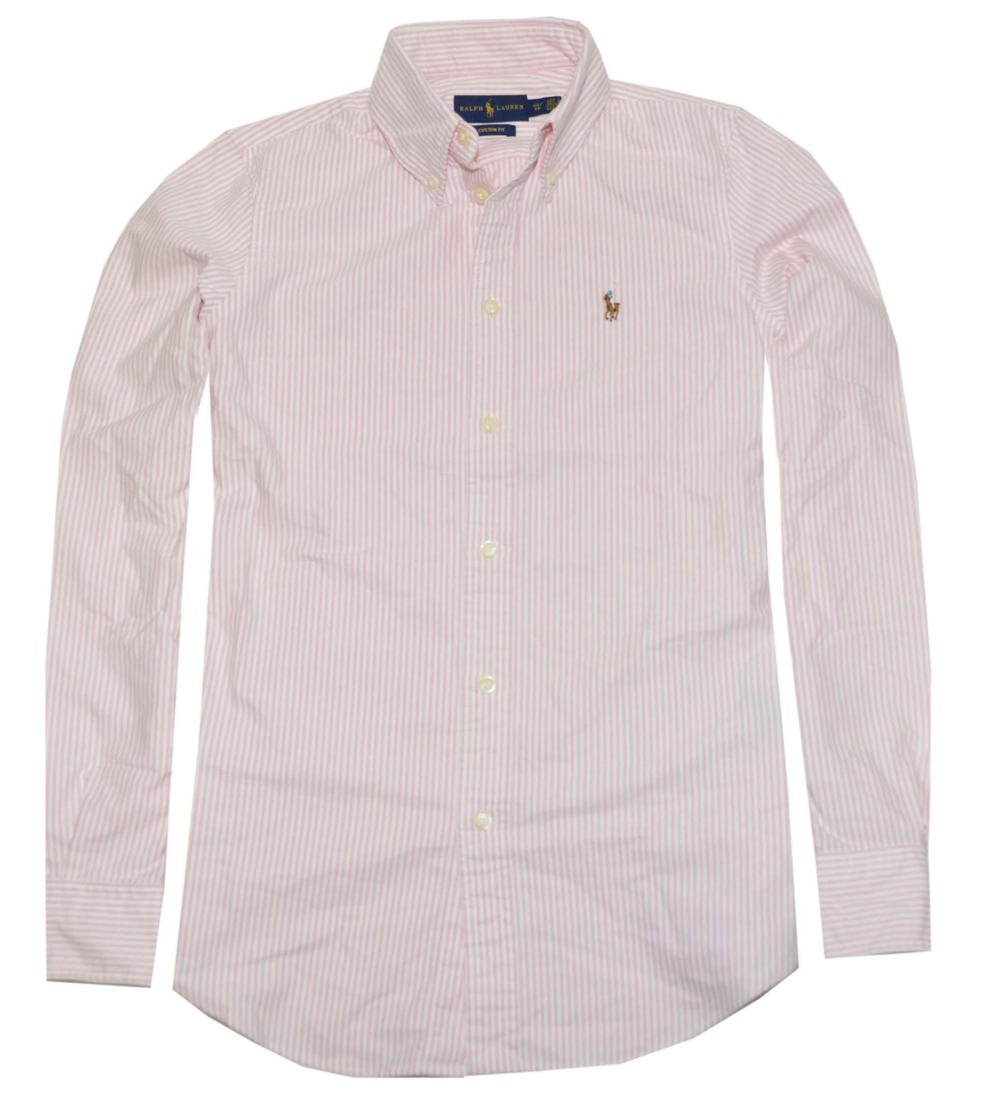 Polo Ralph Lauren Womens Custom Fit Oxford Button Down Shirt (X-Small, BSR Pink/White)