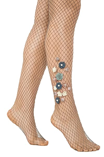 87761fc5b322b Penti Couture Limited Edition Passion Flowers Handcrafted Premium Fishnet  Tights - Anthracite, Size 1/