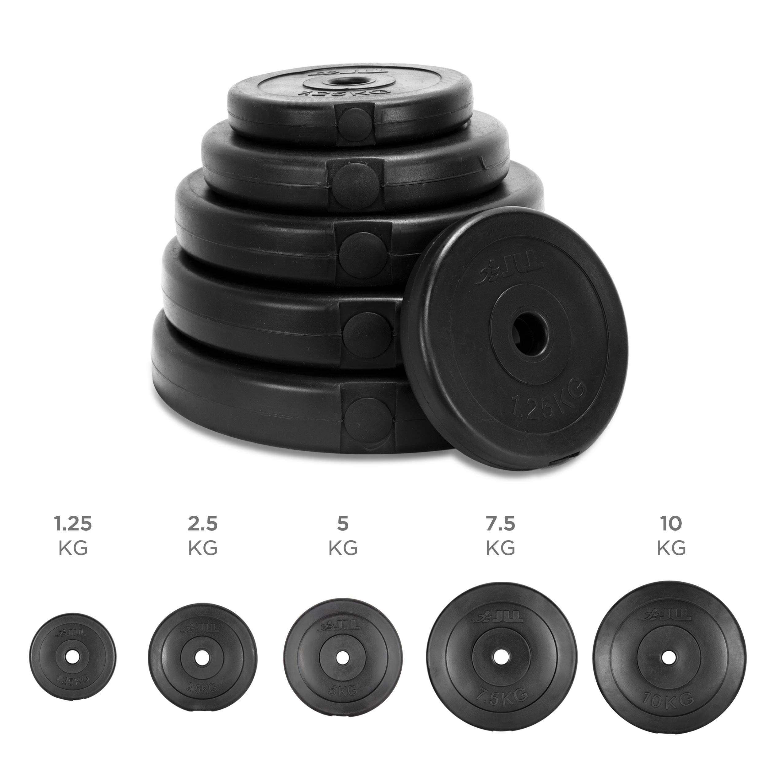 Jll Vinyl Weight Plates 1 25kg 10kg Plates In Sets Of 5kg 10kg 15kg 20kg And 30kg Suitable For 1 Weight Lifting Bars Home Gym Weight Training Fitness Workout Buy Online In Austria