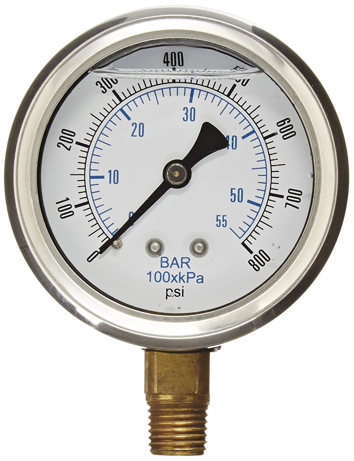 PIC Gauge PRO 201L 254L Glycerin Filled Industrial Bottom Mount Pressure Gauge with Stainless Steel Case Brass Internals Plastic Lens 2 1 2 Dial Size 1 4 Male NPT 0 800 psi