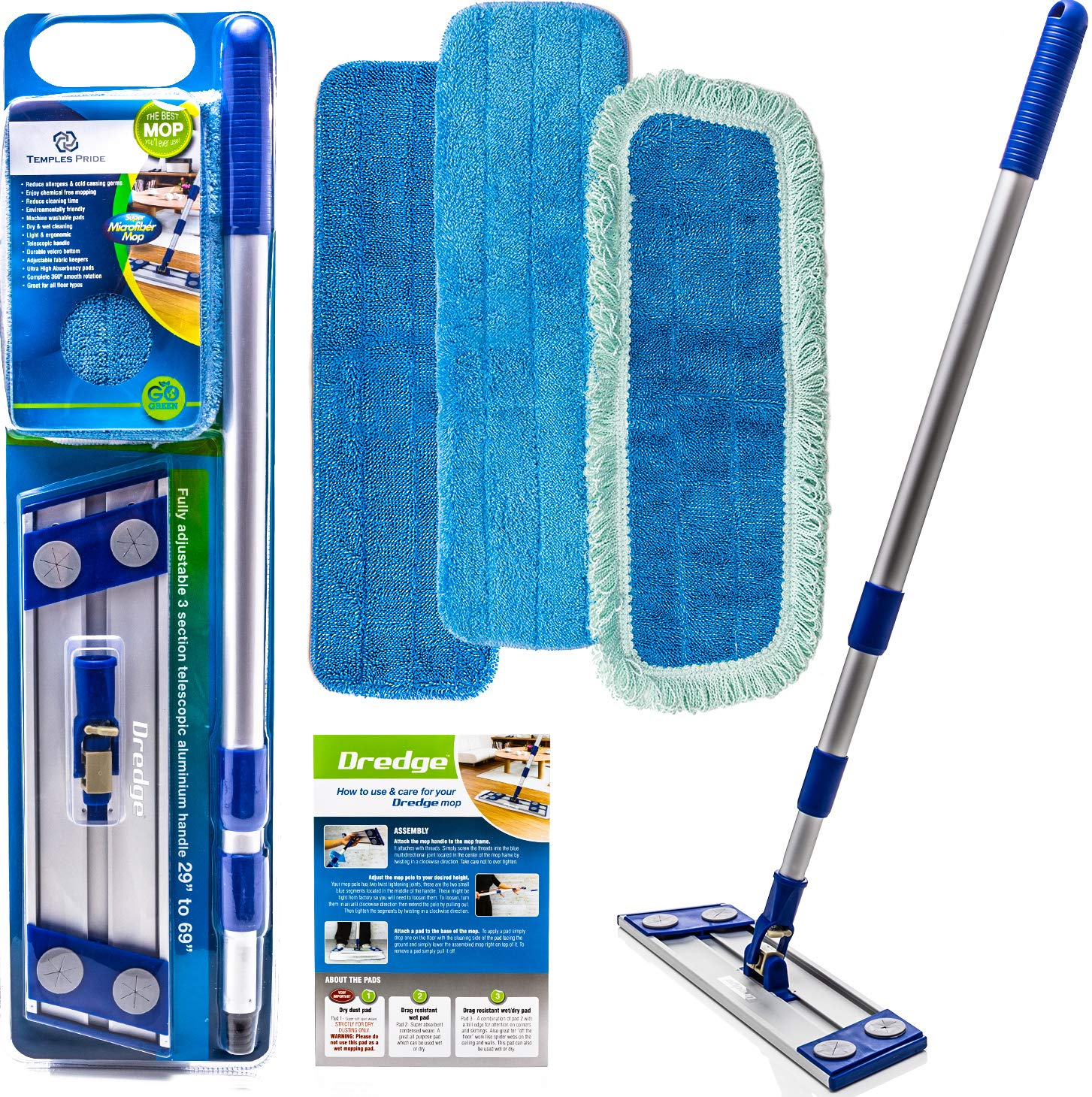 Professional Microfiber mop for Hardwood Tile Laminate & Stone Floors Dredge Best All in 1 kit Dry & Wet Cleaning +3 Advanced Drag Resistant Pads|revolutionize Your Mopping Experience by Temples Pride