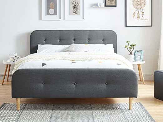 Cama adulto escandinavo en tejido gris oscuro acolchado, somier de Latte, 160 x 200 – Collection Mark