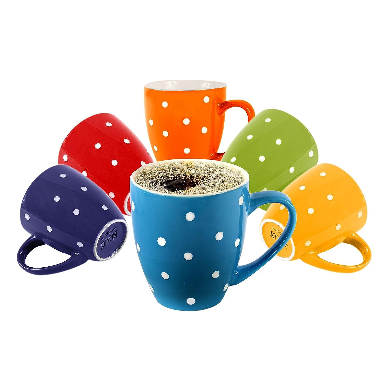Klikel 6 Polka Dot Coffee Mugs Set | 16oz Flat Bottom Porcelain Dinnerware | Bright Polka Dot Colors