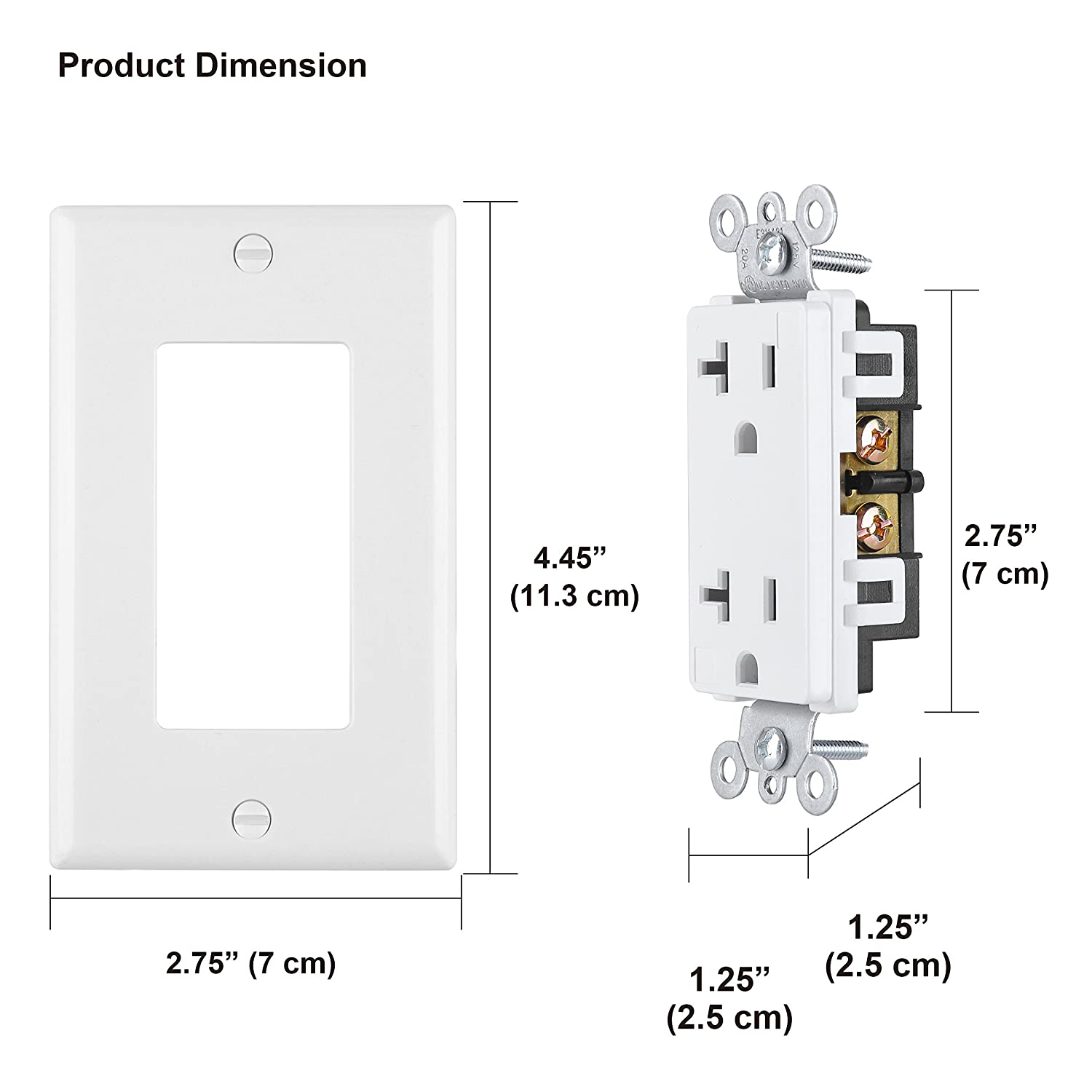[4 Pack] BESTTEN 20A/2500W Decor Receptacle, Standard Decorative Electrical Wall Outlet, Wall Plate Included, UL Certified, White