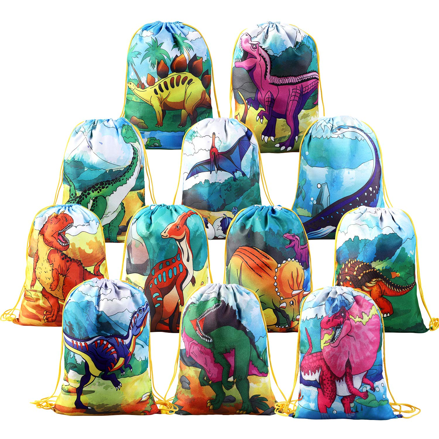 BeebeeRun 12 PCS Kids Dinosaur Party Favor Bags for Birthday Party Gift Package, Animal Drawstring Bag Cartoon Dinosaur Birthday Treat Bags, Dinosaur Goody Bag Gift Pouch for Kids Boys and Girls Party