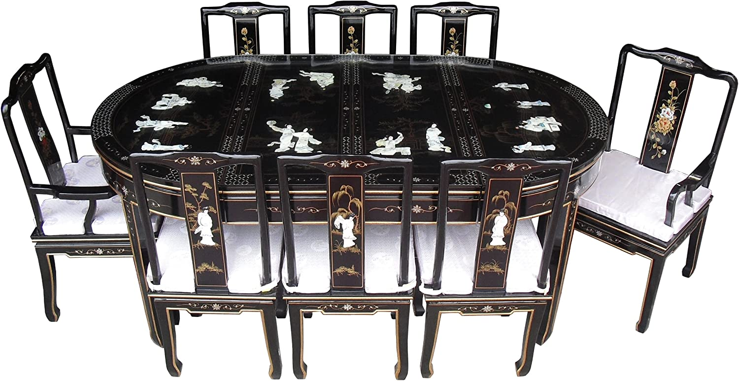 Chinese Oriental Furniture Black Lacquer Dining Table Set With 8 Chairs Amazon Co Uk Kitchen Home