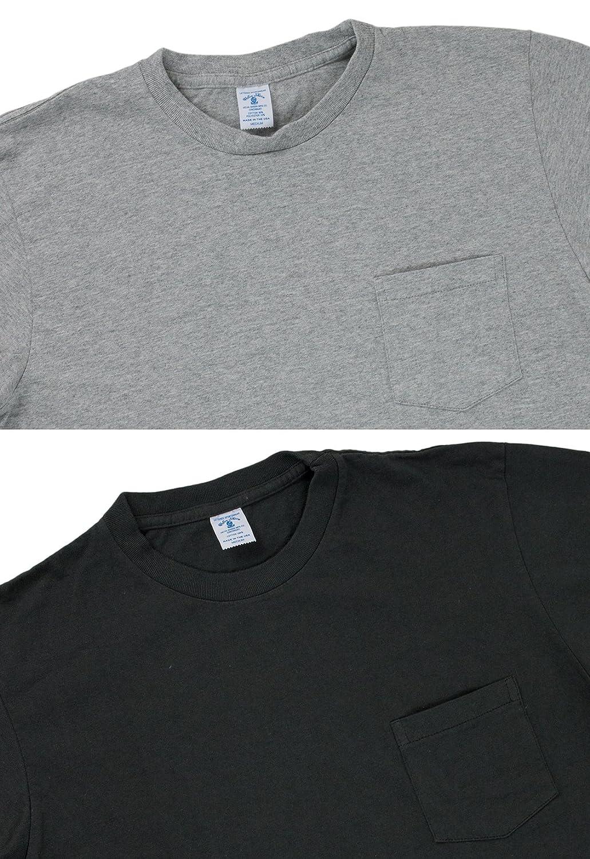 433915ad601d Amazon | Velva Sheen ベルバシーン 2パック ポケット付き クルーネックTシャツ アメリカ製 ブラック/ヘザーグレー (M) |  Tシャツ・カットソー 通販