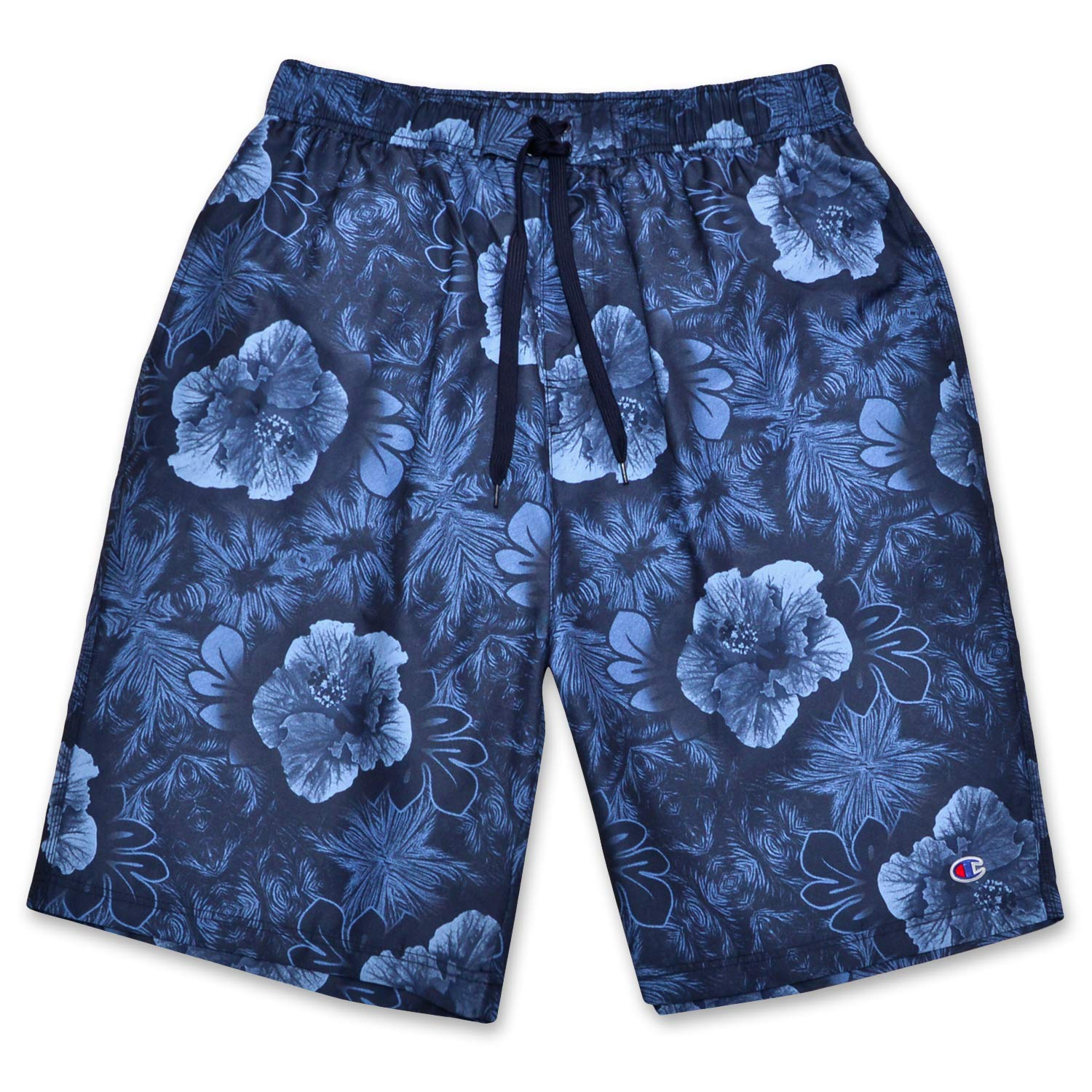 Champion Mens Big and Tall Floral Print Swim Trunks with Quick Dry Technology Navy by Champion