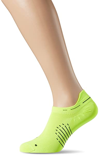 Nike Elite Running Lightweight No Show Socks Shoes (Volt/Black, 4-5.5)