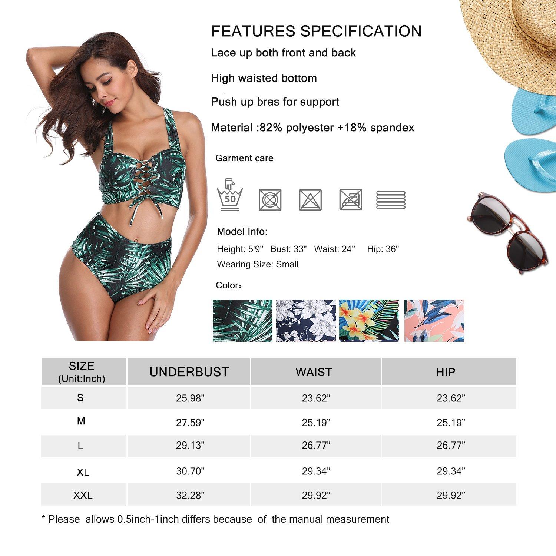 MarinaVida Women High Waisted Bikini Set Push up Two Piece Swimsuit