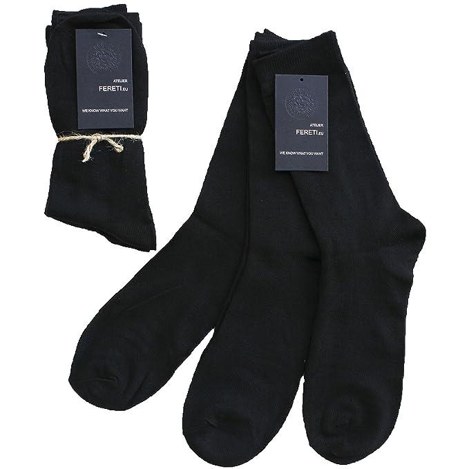 FERETI Calcetines Negros Para Mujer Y Caballero Calidad Hombre Negro De Marca Algodón Fuertes Vestir: Amazon.es: Ropa y accesorios