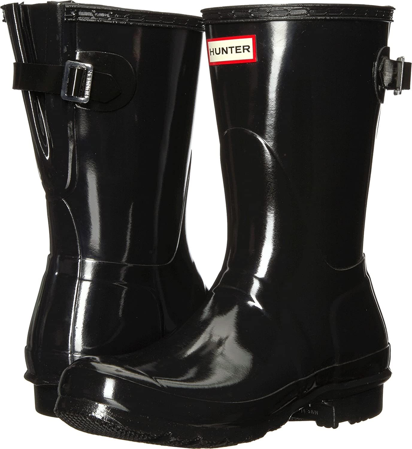 Hunter Womens Original Back Adjustable Short Gloss Rain Boots B079F2C6XP 7 M US|Black