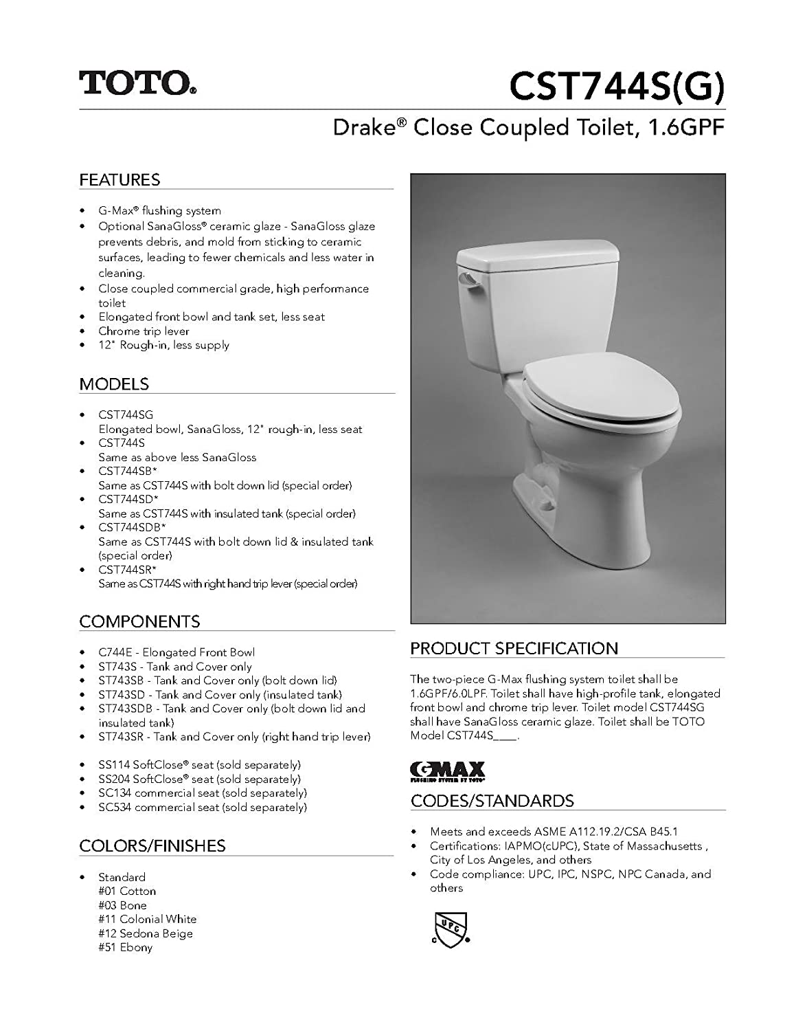 Amazon.com : Toto CST744SD-01 Drake® Toilet Bowl, 1.6 GPF with ...