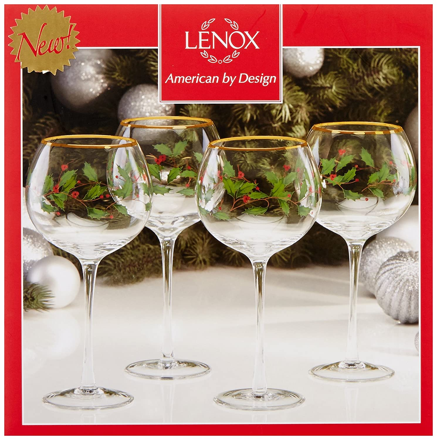 Amazon.com: Lenox Holiday Balloon Glasses, Set of 4: Kitchen & Dining
