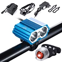 S SUNINESS Lampe à Bicyclette à LED LED à Eau imperméable à l'eau,5000 Lumen XML U2 + Batterie + Chargeur 4 Modes Lumière Avant LED Guidon de vélo vélo de vélo arrière Vélo