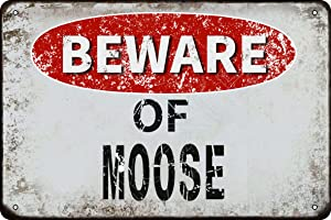 kexle Beware of Moose Vintage Metal Tin Sign Retro Funny Tin Sign for Wall Decor—8