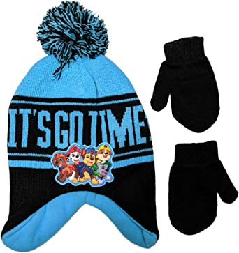 Age 2-4 Toddler Boys Nickelodeon Paw Patrol Hat and Mittens Cold Weather Set