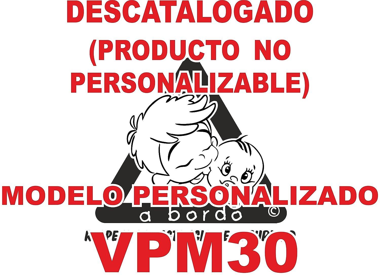 Adhesivo personalizado Bebé a bordo VPC30. DISEÑO EXCLUSIVO. VENDIDO Y ENVIADO POR VPM ORIGINAL. PRODUCTO Y EMPRESA 100% DE ESPAÑA. NO COMPRAR AL VENDEDOR ' ifx3wifx3w', son copias ilegales.