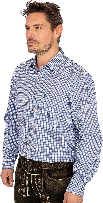 OS Trachten Karo Langarmhemd 420000-3729-43 blau