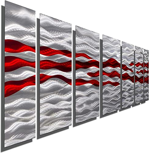 Extra Large Red Silver Handpainted Contemporary Metal Wall Art Sculpture – Multi-Panel Modern Home D cor Wall Accent- Caliente XL by Jon Allen