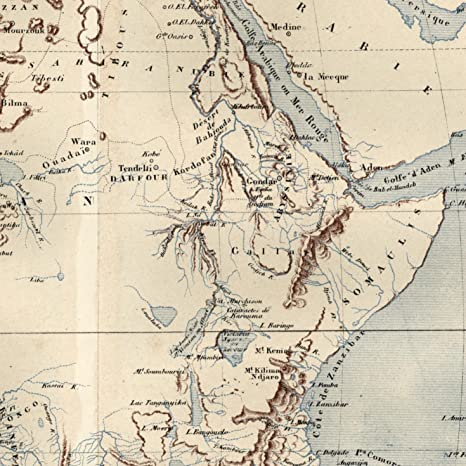 19th Century Africa Map.Amazon Com Africa Physical Geography 1876 Old Map Caillat Mts Of
