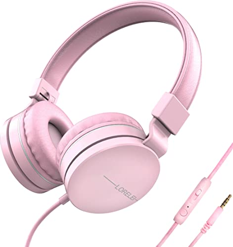 LORELEI L-01 Wied Kids Headphones Children Girls Boys Teens Volume Control with Mic and 3.5mm Socket Compatible Cellphone Ipad Comptuer MP3 4 Pink