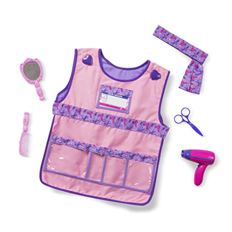 c32db5fcaa70 Amazon.com  Melissa   Doug Hair Stylist Role Play Costume Dress-Up ...
