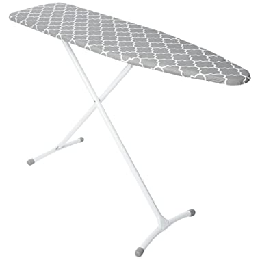 Homz Contour Steel Top Ironing Board, Extra Stable Legs, Grey & White Filigree Cover