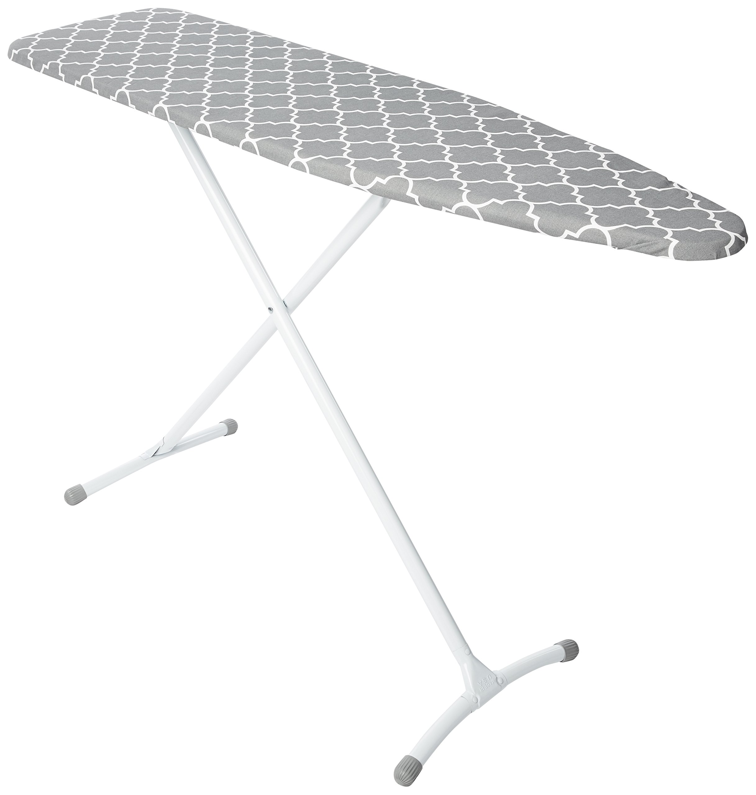 HOMZ Contour Steel Top Ironing Board, Extra Stable Legs, Grey & White Filigree Cover by HOMZ