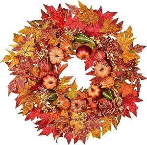 22 inch Front Door Wreath Autumn Maple Leaf Pumpkin Harvest Wreath for Autumn Halloween Thanksgiving Decor