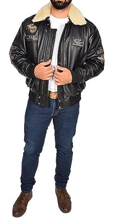 Mens Black Leather Pilot Jacket Aviator Bomber Top Gun AIR Force Coat Spitfire at Amazon Mens Clothing store: