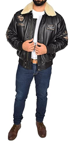 A1 FASHION GOODS Mens Black Leather Pilot Jacket Aviator Bomber Top Gun AIR Force Coat Spitfire at Amazon Mens Clothing store: