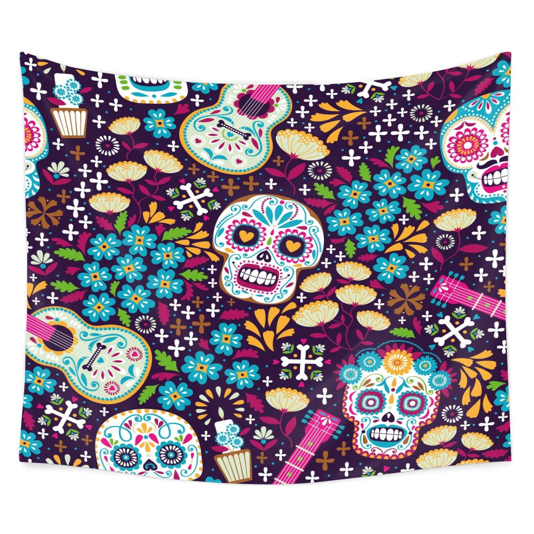 tidy decor Day Of The Dead Decor Tapestry by, Dia de Los Muertos Festive with Spanish Couple Dancing Image Print, Wall Hanging for Bedroom Living Room Dorm