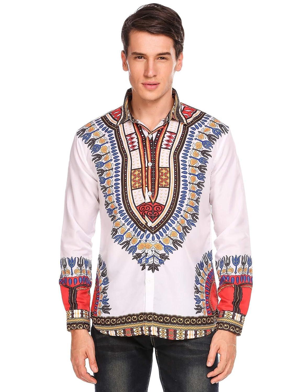 Simbama Fashion Unisex African Dashiki Floral Print Shirt SXJ007039