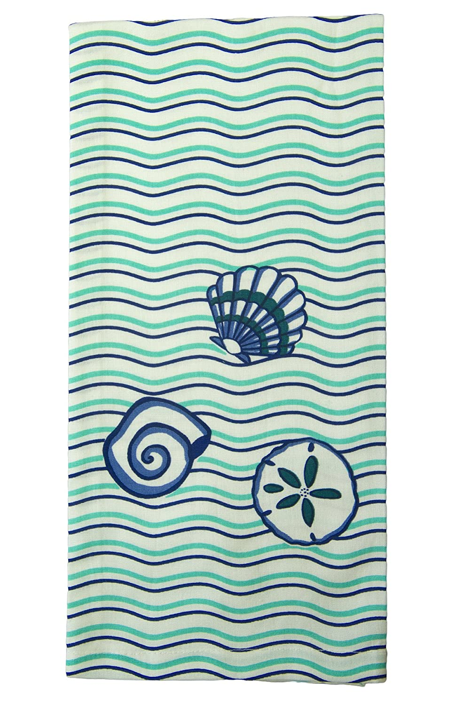 Shard陶器シェルと波キッチンタオル、アクア/ブルー/ホワイト   B00PK3ZUKC
