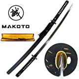 "Makoto Handmade Sharp Katana Samurai Functional Sword 41"" with Wooden Silk Wrapped Gift Box - Japanese Warlord Date Masamune"