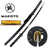 MAKOTO Katana Samurai Espada Funcional Hecha a Mano 41 Pulgadas con Caja de Regalo de Seda Envuelta en Madera – acorde japonés Fecha Masamune
