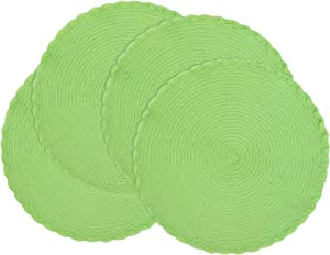 homing Round Placemats Set of 4 for Dining Table – Woven Heat Resistant Cotton Kitchen Table Mats 14 Inch, Easy to Care, Pure Color, Apple Green