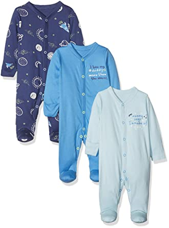 127801708 Mothercare Baby Boys Boys Mummy & Daddy 3 Pack Packed Sleepsuit Sleepsuit,  Blue, Premature