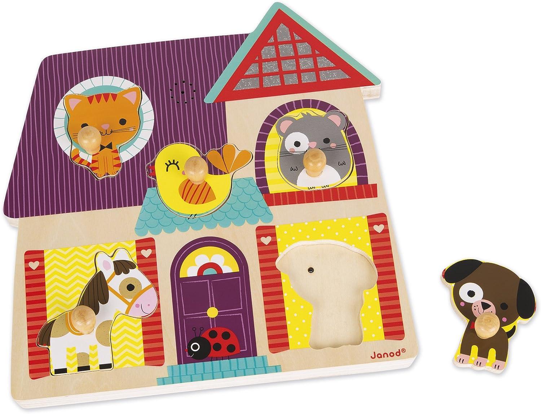 Janod - Los Animales Puzzle musical de madera, 5 piezas (J07078): Amazon.es: Juguetes y juegos