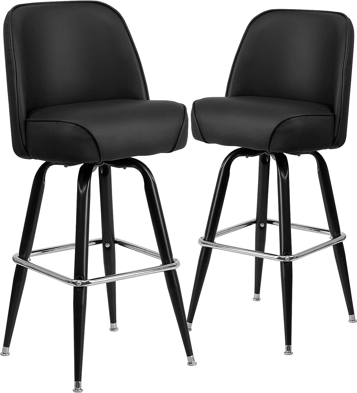 Flash Furniture 2 Pk. Metal Barstool with Swivel Bucket Seat