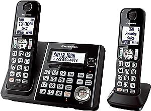 Panasonic KX TG6642B DECT 6.0 Cordless Phone with Anwering System, Black, 2 Handset