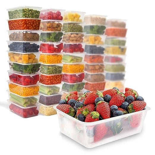Zuvo plástico para microondas (congelador para lavavajillas. Caja de almuerzo desechables 50 unidades – desechables alimentos envases y tapas 650 ml
