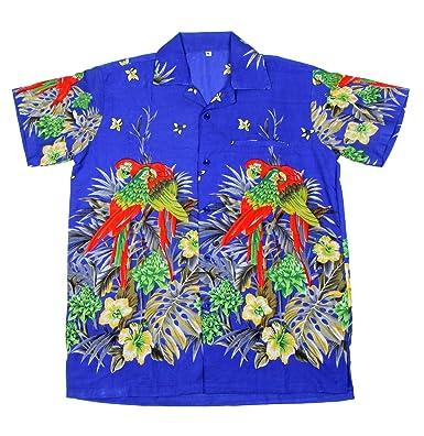 3ef667c7f Mens Hawaiian Shirt STAG Beach Hawaii Aloha Party Summer Holiday Fancy New  Palm (M, 101 B Parrot): Amazon.co.uk: Clothing