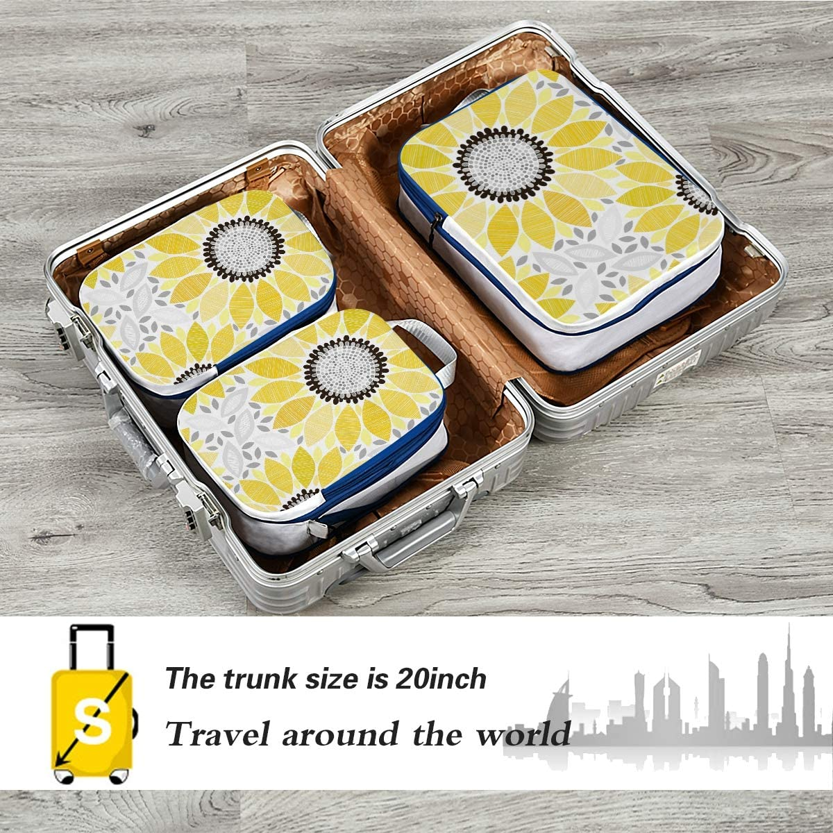 d Sunflowers 3 Set Packing Cubes,2 Various Sizes Travel Luggage Packing Organizers