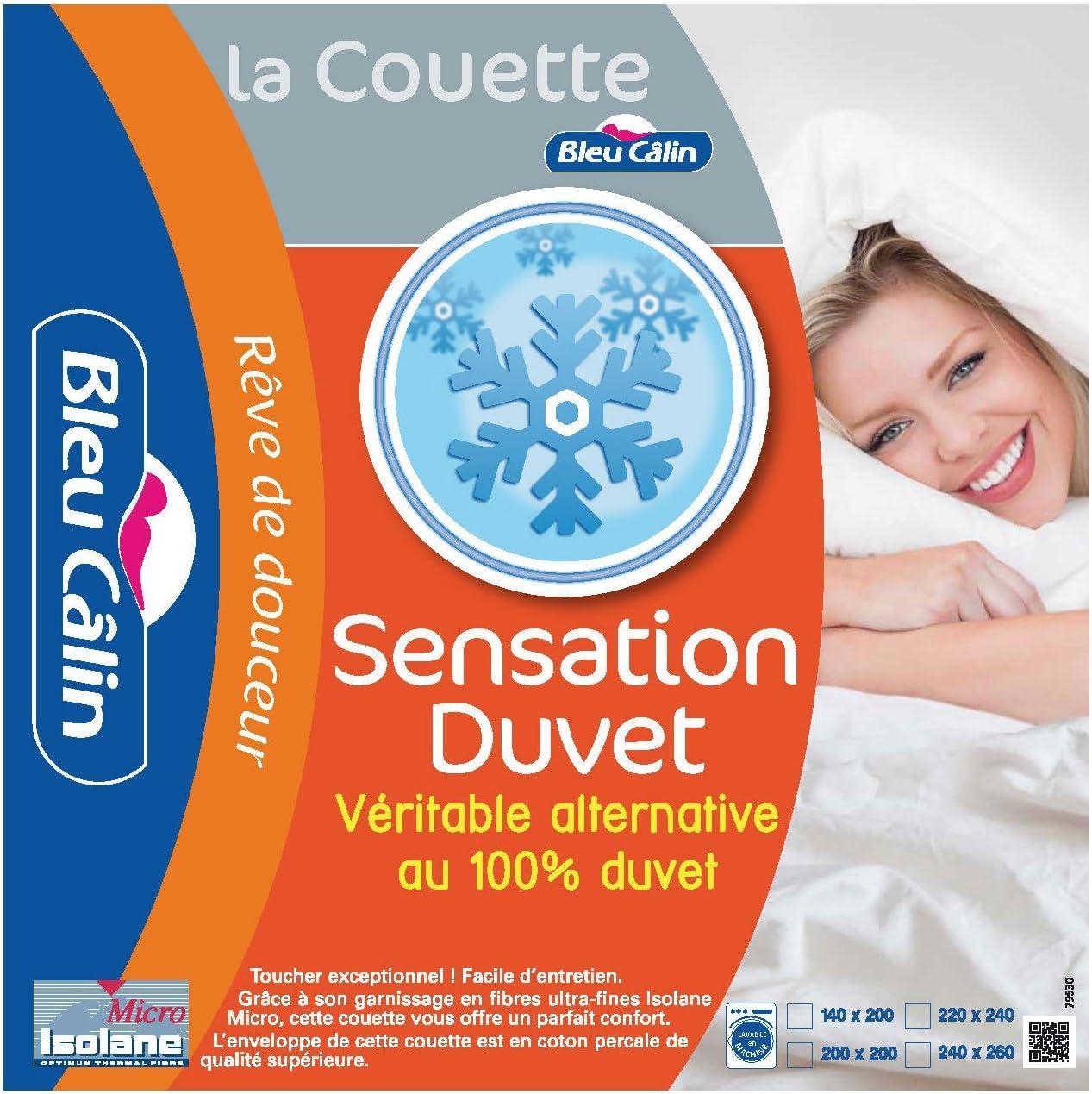 Sensation Duvet Tr/ès Chaude Bleu C/âlin Couette 1 Personne KSD50 Blanc 140x200 cm