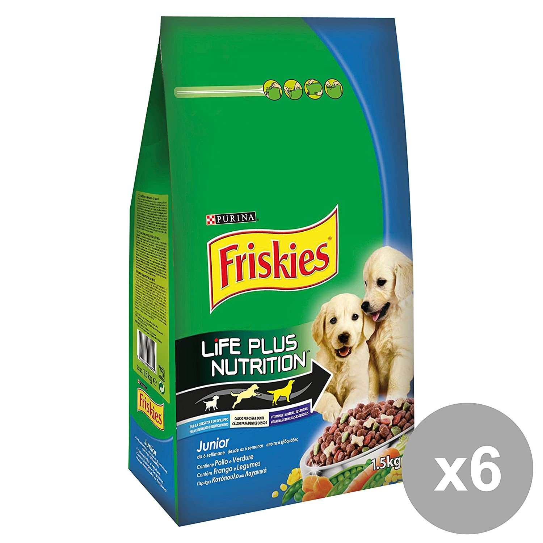Friskies Set of 6 1.5 kg.Junior pollo-verdure Food for Dogs